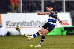 Freddie Burns of Bath Rugby kicks for the posts - Mandatory byline: Patrick Khachfe/JMP - 07966 386802 - 27/01/2018 - RUGBY UNION - The Recreation Ground - Bath, England - Bath Rugby v Newcastle Falcons - Anglo-Welsh Cup
