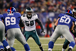 Philadelphia Eagles linebacker Will Witherspoon #50 during the NFL game between the Philadelphia Eagles and the New York Giants on December 13th 2009. The Eagles won 45-38 at Giants Stadium in East Rutherford, New Jersey. (Photo By Brian Garfinkel)