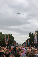 Battle of Britain Memorial Flight Lancaster, Spitfire, Hurricane, RAF100 Parade and Flypast, The Mall & Buckingham Palace, London, UK, 10 July 2018, Photo by Richard Goldschmidt, Royal Air Force Centenary parade and flypast of RAF aircraft over London.