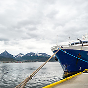 The Ocean Diamond docked at Ushuaia in southern Argentina preparing to take tourists south to Antarctica. The distinctive Monte Olivia is in the background to the left.