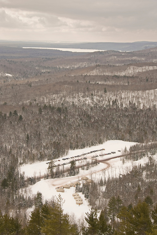 The facilities area as seen from the top of the hill at Mount Bohemia ski resort in Michigans Upper Peninsula.