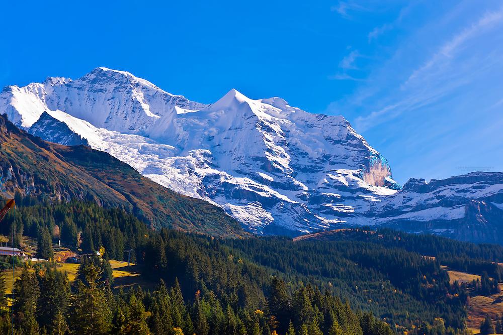 The Jungfrau, in the Swiss Alps, from Wengen, Canton Bern, Switzerland
