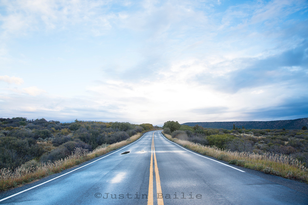 Road through the national park section of the Black Canyon of the Gunnison River National Park in southwestern Colorado.