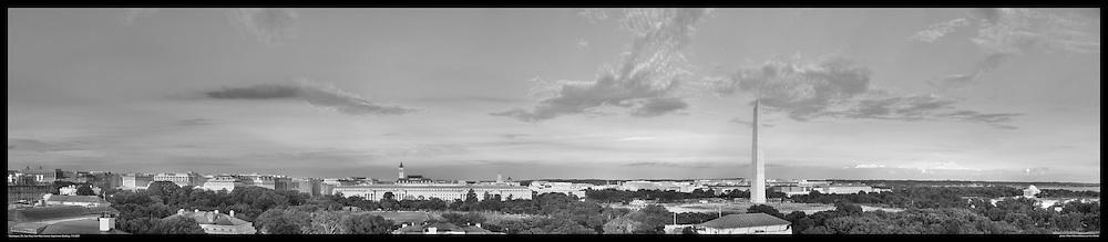Panoramic View of Washington, DC.  Includes The Capitol, Washington Monument, Smithsonian Mall, The White House, among other Washington, DC landmarks and Washington, DC Monuments. Print Sizes (inches): 15x3.5; 24x5.5; 36x8; 48x10.5; 60x13; 72x18