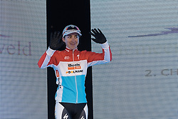 Christine Majerus steps through the sliding doors to greet the crowds after her podium finish - Drentse 8, a 140km road race starting and finishing in Dwingeloo, on March 13, 2016 in Drenthe, Netherlands.
