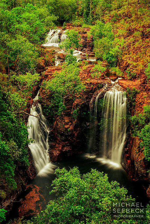 Florence Falls is captured in dawn light in this landscape photograph.<br /> <br /> Limited Edition Print of 125.