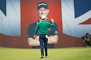 Justin Rose of England acknowledges the crowd with a thumbs up at the 18th hole during the British Masters 2018 at Walton Heath Golf Course, Walton On the Hill, Surrey on 12 October 2018. Picture by Martin Cole.