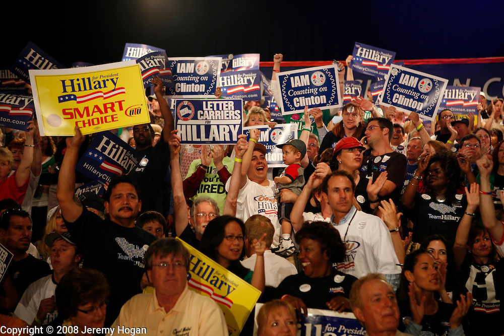 Hillary Clinton supporters cheer while watching the result come in at the Murat Egyptian Room.