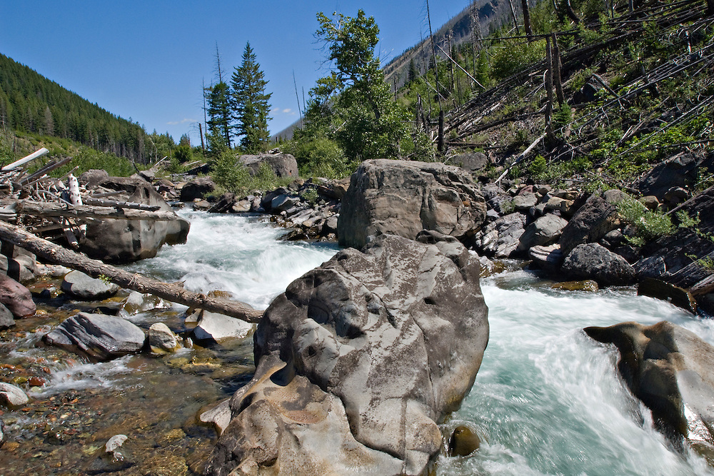 The North Fork of the Blackfoot River in the Scapegoat Wilderness Area near Missoula Montana.