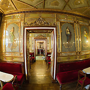 VENICE, ITALY - DECEMBER 02:  A fisheye view inside the Caffe Florian on December 2, 2011 in Venice, Italy.The Venetian coffee houses have a  long standing history, established at the beginning of 1700 around St. Mark Square have been the centre of cultural meeting and innovations for centuries and served customers like Dickens, Goethe, Casanova and Lord Byron. San Marco is one of the six sestieri of Venice, lying in the heart of the city.