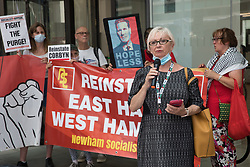 Sheila Day, former Hove Labour councillor, addresses supporters of left-wing Labour Party groups at a protest lobby outside the party's headquarters on 20th July 2021 in London, United Kingdom. The lobby was organised to coincide with a Labour Party National Executive Committee meeting during which it was asked to proscribe four organisations, Resist, Labour Against the Witchhunt, Labour In Exile and Socialist Appeal, members of which could then be automatically expelled from the Labour Party.