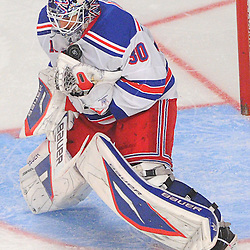 New York Rangers goalie Henrik Lundqvist (30) makes a catching glove save during third period NHL action between the New York Rangers and Toronto Maple Leafs at Madison Square Garden. Toronto defeated New York 4-2.