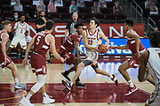 Southern California Trojans guard Drew Peterson (13) drives the basket during an NCAA men's basketball game against the Stanford Cardinal, Wednesday, March 3, 2021, in Los Angeles. USC defeated Stanford 79-42. (Jon Endow/Image of Sport)