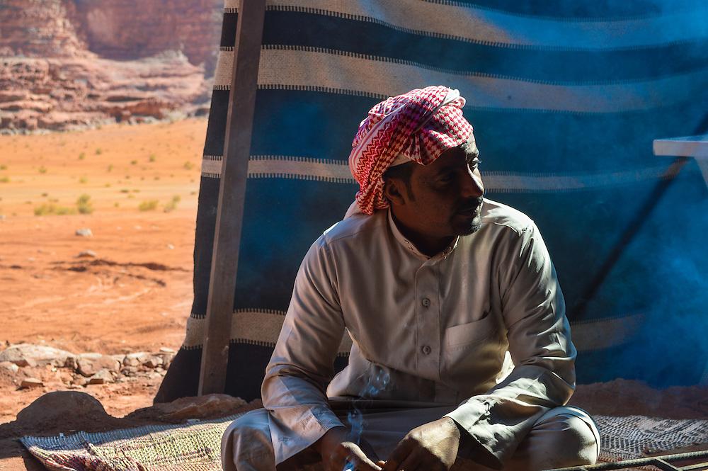 This was Ali a Bedouin we met in the desert of Wadi Rum Jordan and very friendly he invited us to drink hot tea.