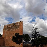 Europe, Spain, Novelda. Triangular Tower of Mola Castle, a national monument of Spain.