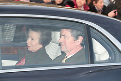 The Princess Royal and Vice Admiral Sir Tim Laurence, arrive for the Queen's Christmas lunch at Buckingham Palace, London.