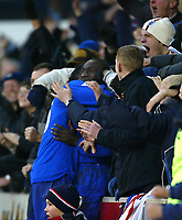 Photo. Aidan Ellis<br />Stoke City v Chelsea FA Cup Rd 5 16/02/03<br />Chelsea's Jimmy Floyd Hasselbaink is mobbeed by chelsea fans after putting chelsea in fvront