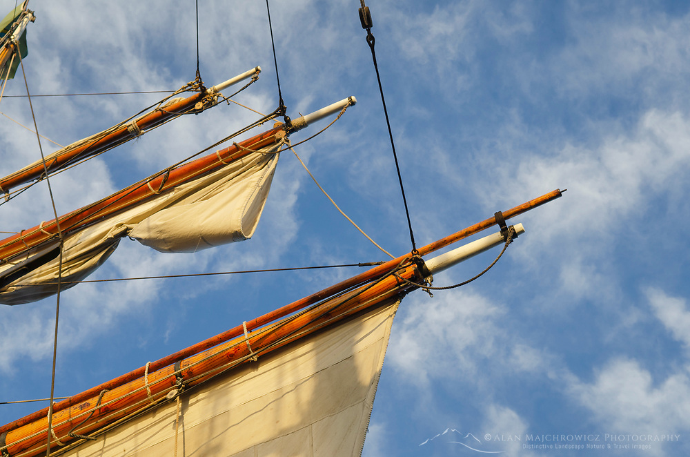 Spars and sails of Hawaiian Chieftan, a Square Topsail Ketch. Owned and operated by the Grays Harbor Historical Seaport, Aberdeen, Washington
