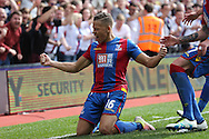 Dwight Gayle of Crystal Palace celebrates after scoring his sides 2nd goal to make it 2-1.Barclays Premier League match, Crystal Palace v Stoke City at Selhurst Park in London on Saturday 7th May 2016. pic by John Patrick Fletcher, Andrew Orchard sports photography.