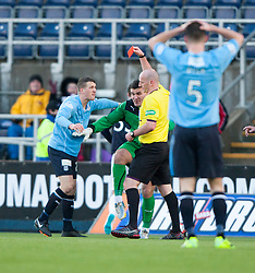 Dundee's keeper Kyle Letheren sent off after bringing down Falkirk's Rory Loy.<br /> Half time : Falkirk 1 v 0 Dundee, Scottish Championship game at The Falkirk Stadium.<br /> © Michael Schofield.