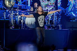 INGLEWOOD, CA - SEPTEMBER 24: Frontman Fher Olvera and Drummer Alex Gonzalez of Mana perform on stage during a stop of the band's Latino Power Tour at the Forum on September 24, 2016 in Inglewood,California USA. Byline, credit, TV usage, web usage or linkback must read SILVEXPHOTO.COM. Failure to byline correctly will incur double the agreed fee. Tel: +1 714 504 6870.