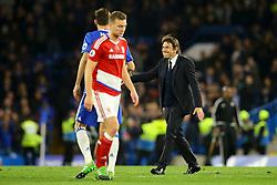 Chelsea manager Antonio Conte congratulates Nemanja Matic of Chelsea - Mandatory by-line: Jason Brown/JMP - 08/05/17 - FOOTBALL - Stamford Bridge - London, England - Chelsea v Middlesbrough - Premier League