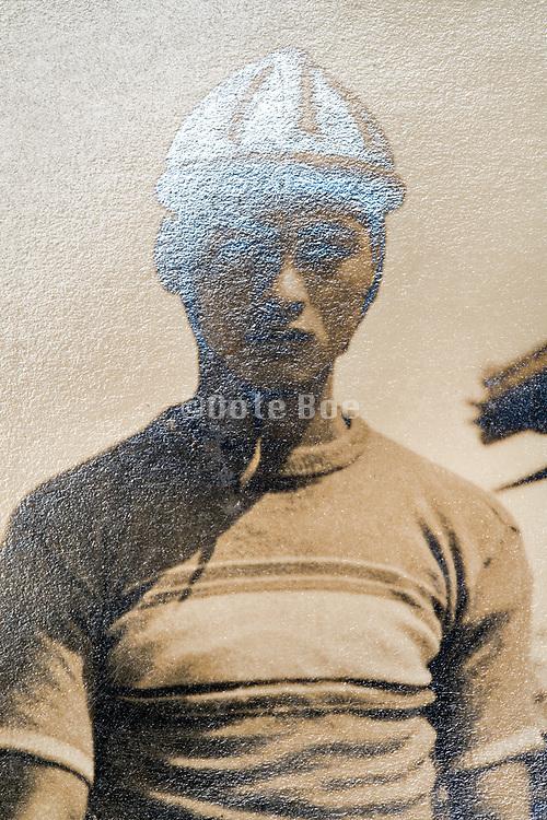 oxidized photograph with cyclist Japan ca 1930s