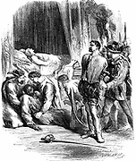 Shakespeare 'Othello' Act 5: Desdemona and Emilia lie dead, Othello has stabbed himself and Iago is taken prisoner. 19th century engraving.