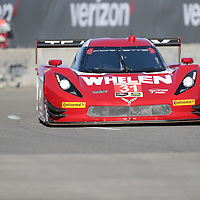 Detroit, MI - Jun 03, 2016:  The Action Express Racing Corvette DP races through the turns at the Detroit Grand Prix at Belle Isle Park in Detroit, MI.