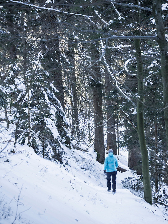 Woman hiking through snowy forest in Valley of Yach, Elzach, Black Forest, Baden-W¸rttemberg, Germany