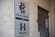 """Under Armour branded wraps in the athletic department at Cedar Hill High School in Cedar Hill, Texas on August 24, 2016. """"CREDIT: Cooper Neill for The Wall Street Journal""""<br /> TX HS Football sponsorships"""