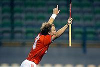 """WK Hockey Nederland-Argentinie (2-1). """"Matchwinner""""Teun de Nooijer, die een minuut voor tijd zorgde voor het winnende doelpunt, juicht bij het eerste doelpunt."""
