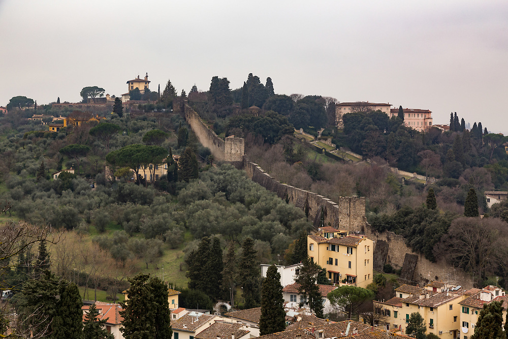 City Wall in Florence, Italy. Only the walls in Oltrarno have survived, with all their towers.