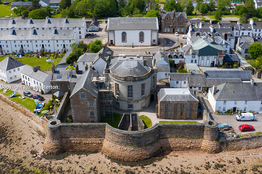 Aerial view of Inveraray Jail museum in Inveraray beside Loch Fyne in Argyll and Bute, Scotland, UK
