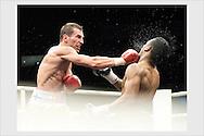 Edis Tatli (left) vs Felix Lora. WBA Inter-Continental lightweight title match. Boxing Night, Espoo. March 9, 2013.