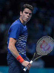 November 17, 2016 - London, United Kingdom - Dominic Thiem (AUT)(8) action against Milos Raonic (CAN)(4)  in their  Ivan Lendl Group  match during Day Five  of the Barclays ATP World Tour Finals 2015 played at The O2 Arena, London on November 17th  2016. (Credit Image: © Kieran Galvin/NurPhoto via ZUMA Press)
