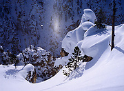 Airborne ice crystals reflecting the morning sun creating the atmospheric phenomena known as a sub-sun, deep snow covering rhyolite pillars on the North Rim of the Grand Canyon of the Yellowstone, Yellowstone National Park, Wyoming.