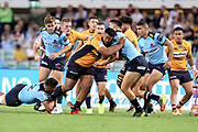 Folau Fainga'a.  runs at Jack Maddocks. NSW Waratahs v ACT Brumbies. 2021 Super Rugby AU Round 7 Match. Played at Sydney Cricket Ground on Friday 2 April 2021. Photo Clay Cross / photosport.nz