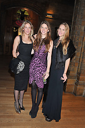 Left to right, sisters LARA BOGLIONE,  RUBY BOGLIONE and ANNA BOGLIONE  at the annual Chain of Hope's annual Gala Ball held at the Natural History Museum, London on 8th November 2012.