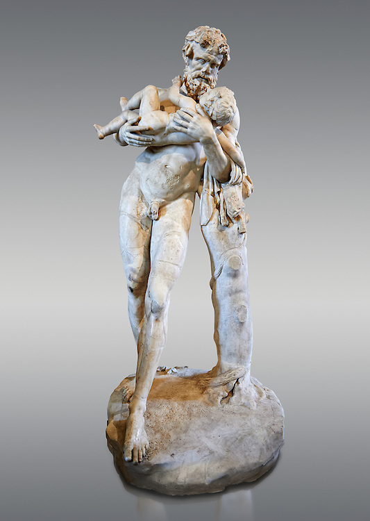 Silenus (Faune to the Romans) and The Child ( Dionysus, Bacchus to the Romans). A 1st - 2nd century Roman statue in marble discovered in the gardens of the Salluste in Rome, Italy. Silenus was ordered by Zeus to take his illegitimate son son Dionysus away from the wrath of Hera to the nymphs. This staue is a Roman copy of a lost bronze Greek original by the 4th century BC Greek sculptor  Lysippos.  From the Borghese collection, Inv MR 346   (or Ma 922), The Louvre Mueum, Paris. .<br /> <br /> If you prefer to buy from our ALAMY STOCK LIBRARY page at https://www.alamy.com/portfolio/paul-williams-funkystock/greco-roman-sculptures.html- Type -    Louvre    - into LOWER SEARCH WITHIN GALLERY box - Refine search by adding a subject, place, background colour,etc.<br /> <br /> Visit our CLASSICAL WORLD HISTORIC SITES PHOTO COLLECTIONS for more photos to download or buy as wall art prints https://funkystock.photoshelter.com/gallery-collection/The-Romans-Art-Artefacts-Antiquities-Historic-Sites-Pictures-Images/C0000r2uLJJo9_s0c
