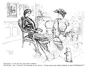 """Lady Visitor. """"I see you still have poor old Bingo."""" Fair Widow. """"Yes. I wouldn't part with him on any account. I never look at him without thinking of poor dear Marmaduke!"""""""