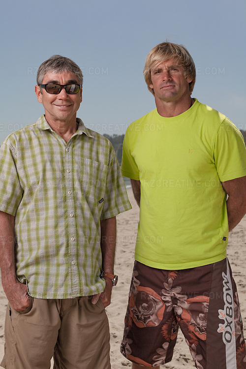Portrait of Gerry Lopez with Laird Hamilton in Malibu, Calif. Photo © Robert Zaleski / rzcreative.com<br /> —<br /> To license this image contact: robert@rzcreative.com