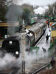 © Licensed to London News Pictures. 07/03/2014. Hampshire, UK. The steam locomotive '34007 - Wadebridge', at Alresford Station today, 7th March 2014, which is the first day of the 'spring steam gala' on the Watercress Line. The railway line, operated by Mid Hants Railway Ltd, passes between Alresford and Alton in Hampshire. The line is named after its use in the past for transporting freshly cut watercress from the beds surrounding Alresford to London. Photo credit : Rob Arnold/LNP