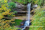 64745-00304 Munising Falls in fall, Pictured Rocks National Lakeshore Alger Co. MI