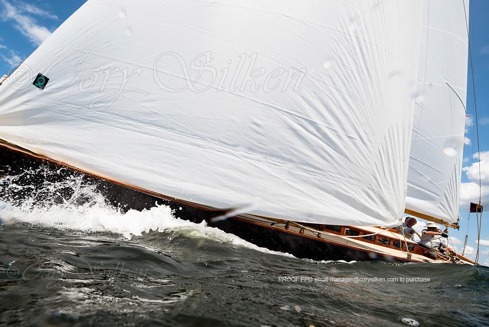 Falcon sailing in the Panerai Herreshoff Classic Yacht Regatta.