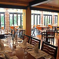 South America, Peru, Machu Picchu. Tampu Restaurant and Bar at Machu Picchu Sanctuary Lodge, an Orient Express Hotel.