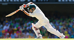 Australia's David Warner plays a shot during day two of the Ashes Test match at The Gabba, Brisbane.