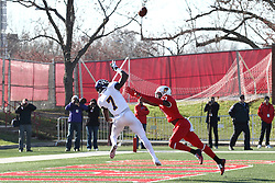05 December 2015:  Lance Lenoir(7) reaches for an out of reach pass as Josh Burch(1) closes in. NCAA FCS Round 2 Football Playoff game between Western Illinois Leathernecks and Illinois State Redbirds at Hancock Stadium in Normal IL (Photo by Alan Look)