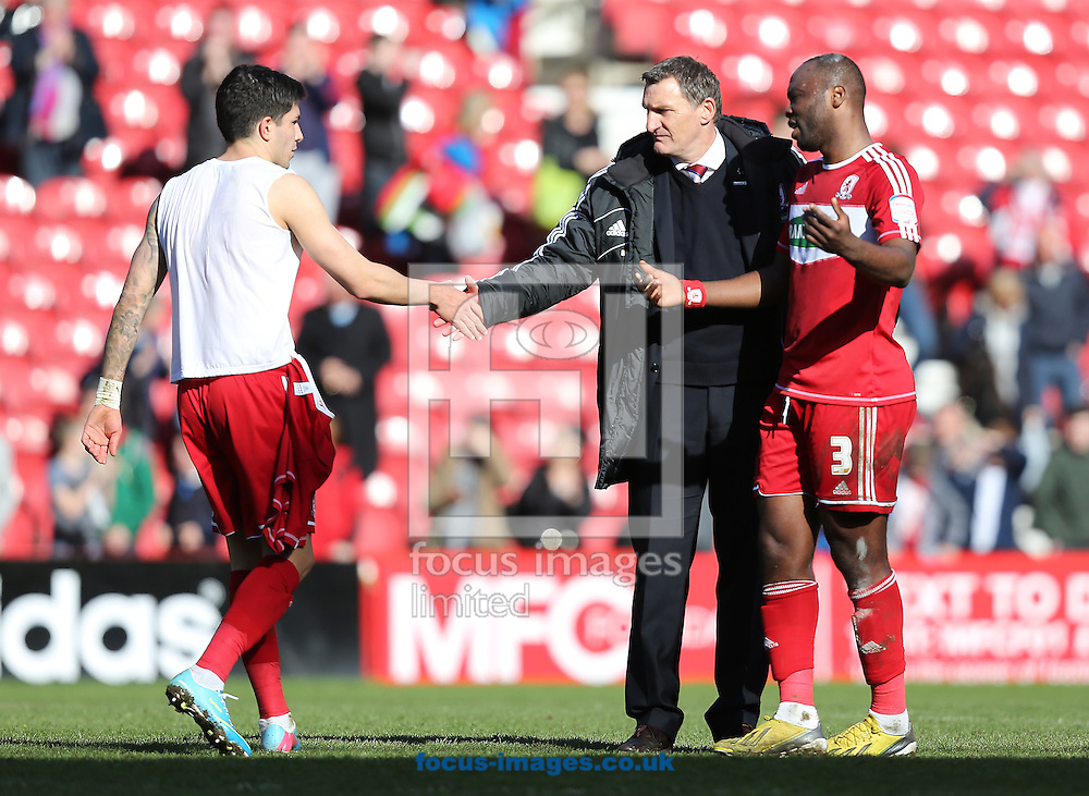 Picture by Paul Gaythorpe/Focus Images Ltd +447771 871632.27/04/2013.Emmanuel Ledesma, Tony Mowbray and Andre Bikey of Middlesbrough after the npower Championship match at the Riverside Stadium, Middlesbrough.