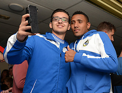 Christian Montano of Bristol Rovers poses for a selfie with A Bristol Rovers fan during an Open Day at the Memorial Stadium - Mandatory by-line: Dougie Allward/JMP - 07966386802 - 26/07/2015 - SPORT - FOOTBALL - Bristol,England - Memorial Stadium - Bristol Rovers Open Day - Bristol Rovers Open Day